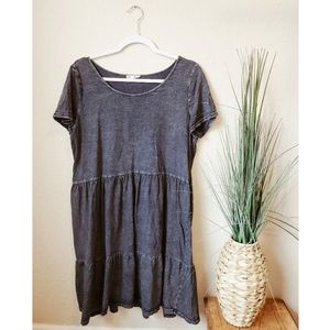 JANE AND DELANCEY Blue Burnout Babydoll Dress sz L